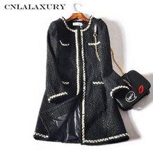 Зимняя куртка женская мода дизайн роскошные взлетно-посадочной твидовое пальто куртка с длинными рукавами, пуговицами женские осень-зима Шерстяные Пиджаки Плюс Размер