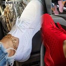 Sapatilhas vermelhas femininas branco sapatos casuais confortáveis malha rendas-up senhoras sapatos de desporto cunhas grossas sapatos vulcanizados femininos