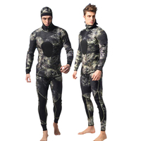 Men 3mm Neoprene Full Body Wetsuit Two piece Camo Suit for Diving Snorkeling Wetsuits for Swimming Water Sports