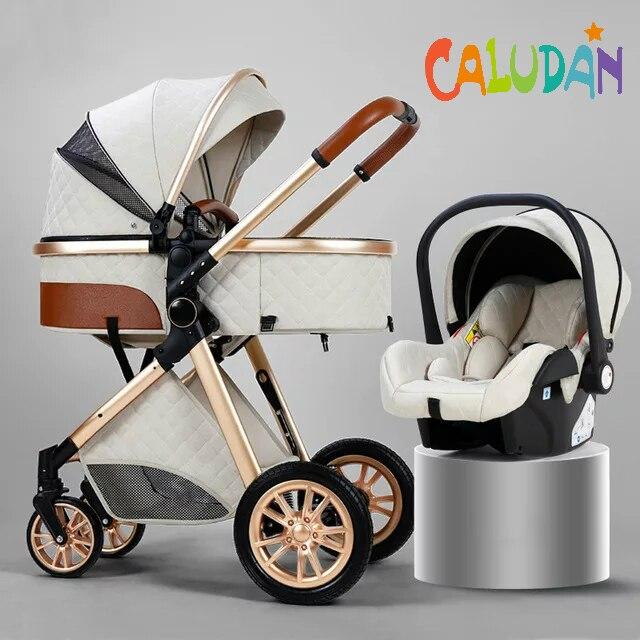 Multi-funcional 3 em 1 carrinho de bebê alta paisagem pode sentar reclinável luz dobrável dois-way eggshell design carrinho de bebe