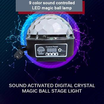 Luz LED de discoteca, luces de escenario, láser activado con sonido, 9 colores de cristal de bola mágica, lámpara de efecto proyector, música, fiesta de navidad