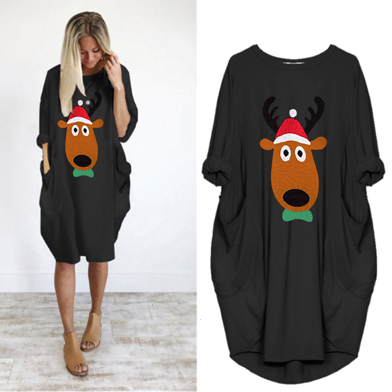 ENXI Christmas Large Size Maternity Dress New Autumn Winter Round Neck Leisure Time Wide Pocket Long Sleeve Pregnancy Clothes