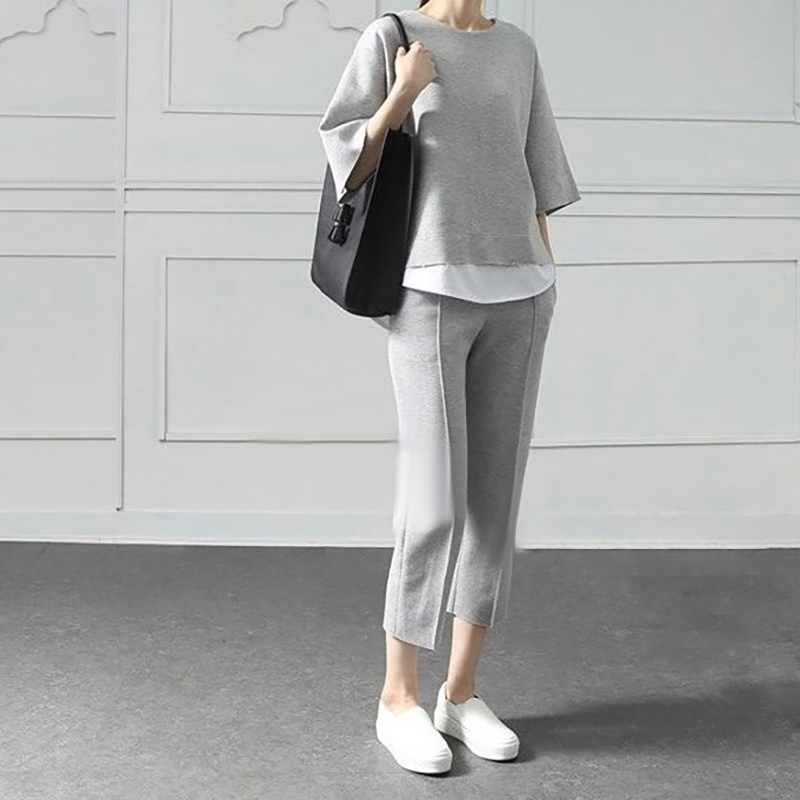 Autumn Casual O-Neck Fake Two Pieces Sets Top 3/4-Length Pants Two-piece Sets Loose Splits Sleeve Suits