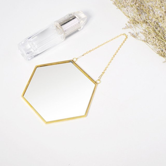 Nordic Minimalist Home Decoration Geometric Shape Gold Brass Hexagonal Mirror Bathroom Mirror Entrance Mirror Makeup Mirror 3