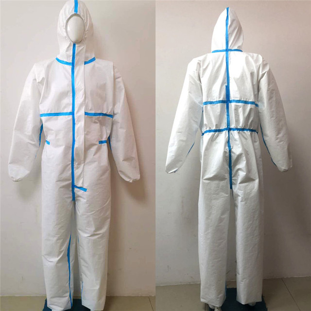 Professional PPE Suit Coverall Hazmat Suit Disposable Anti-Virus Protective Clothing Disposable Factory Hospital Safety Clothing 2
