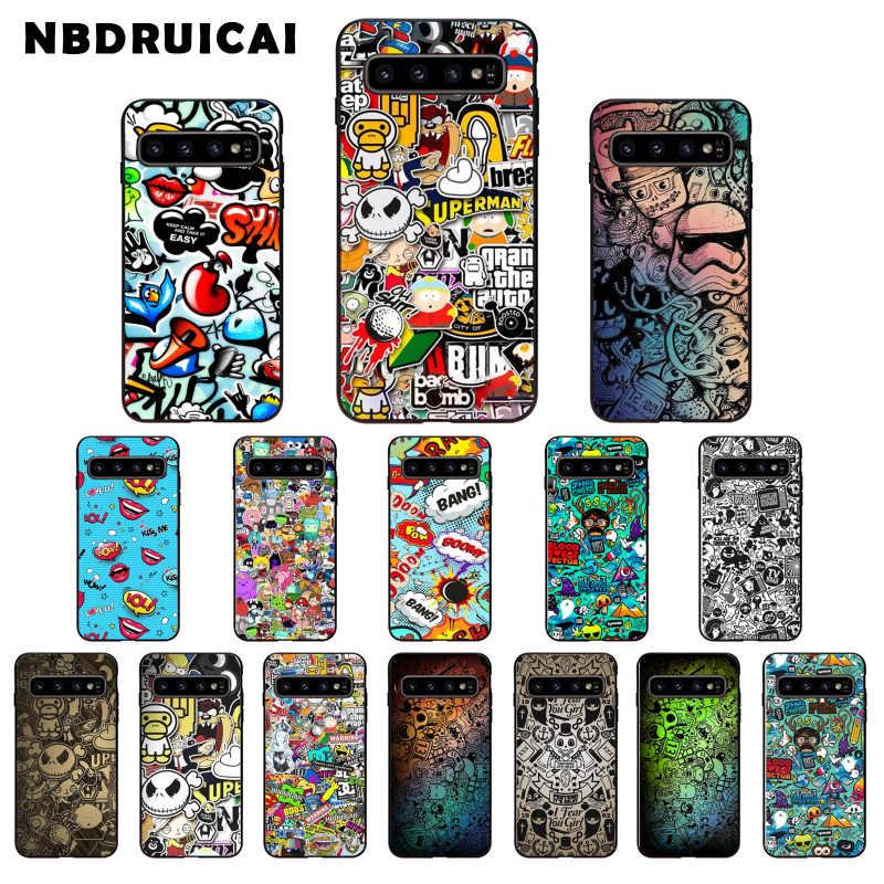 NBDRUICAI 애니메이션 낙서 스티커 폭탄 실리콘 전화 케이스 커버 삼성 S9plus S5 S6 가장자리 플러스 S7 가장자리 S8plus S10 E S10 플러스