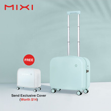 Mixi Aesthetic Design Carry On Suitcase Travel Luggage Boarding Cabin Case for Short Trip 100% PC Hardside M9236 18 Inch