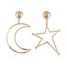 FYJS Unique Light Yellow Golden Color Crescent Moon Stud Earrings Lucky Star Silver Plated Jewelry(China)