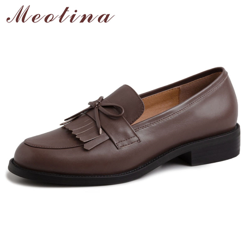 Meotina High Heels Women Shoes Natural Genuine Leather Thick Heels Loafers Shoes Real Leather Bow Round Toe Pumps Ladies Size 40