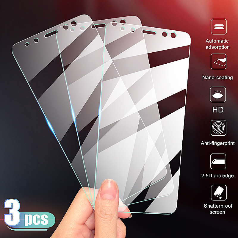 3Pcs Tempered Protective Glass For Samsung Galaxy A6 A8 J4 J6 Plus 2018 Screen Protector Glass Samsung A5 A7 A9 2018 Glass Film