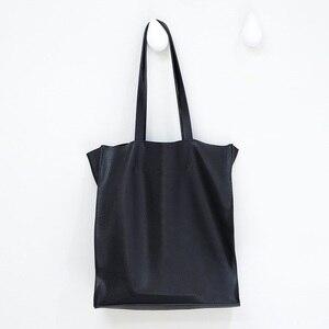 Image 2 - デザイナーの女性のハンドバッグ大容量黒ショッピングバッグ品質puレザー女性のトートバッグカジュアル女性のショルダーバッグボルサ