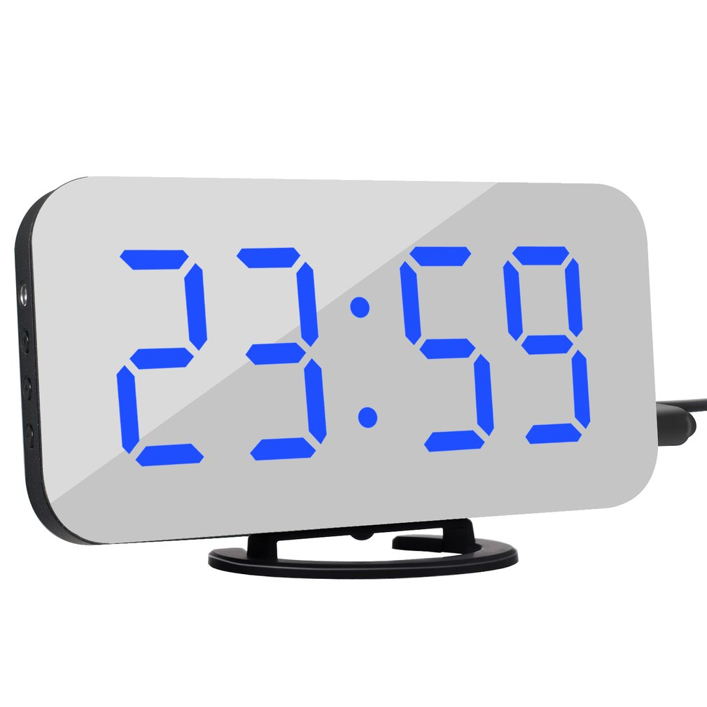 Digital LED Alarm Clock Snooze Display Time Night Led Table Desk 2 USB Charge Ports For Iphone Androd Phone Alarm Mirror Clock