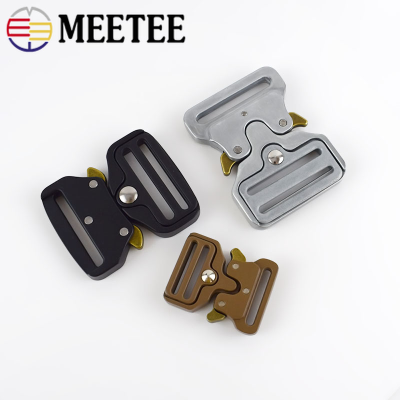 Meetee 1pc/4pcs ID25-50mm Alloy Release Buckle Outdoor Tactics Belt Strap Webbing Adjustment Buckle DIY Clothing Accessory YK032