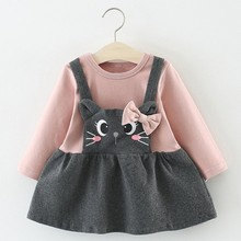Baby Dress Girl Flower Petal Shell Princess Children Cat Pattern Winter 40