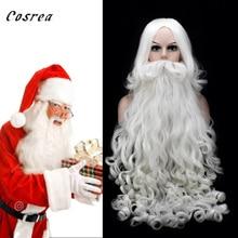 Рождественский костюм для косплея, парики для взрослых, борода, Санта Клаус, белые кудрявые длинные волосы, Хэллоуин, Рождественский наряд, реквизит для волос Санта Клауса