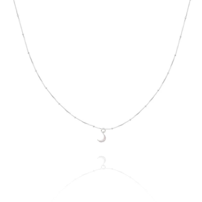 925 Sterling Silber Frau Schmuck Mond Anhänger Halsketten Hochzeit Collares Halskette Link Geschenk Für Jahrestag Geburtstag Party