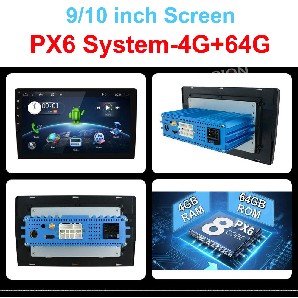 4G 64G Android 9.0 Universal 1 din auto Multimedia Player car radio 2din Stereo 10 car Player Auto Radio HDMI PX6 System image