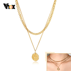 Vnox Layered Gold Tone Necklace for Women Irregular Coin Pendant Elegant Party Jewelry Anniversary Xmas Gift