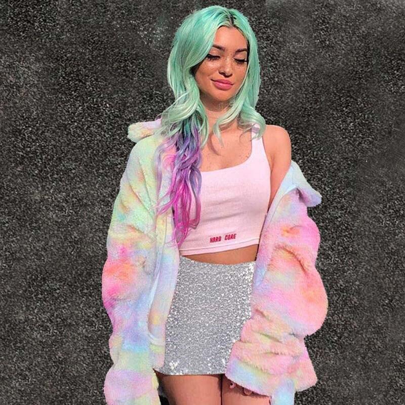 Fashion Autumn Winter Rainbow Color Faux Fur Female Jacket Plus Thick Keep Warm Zipper Coat Chaqueta Mujer Oversized Streetwear
