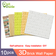 10 pcs 3D Wall Paper Brick Waterproof paper DIY Self-Adhesive Decor For Bedroom Kids Room Living Wallpaper
