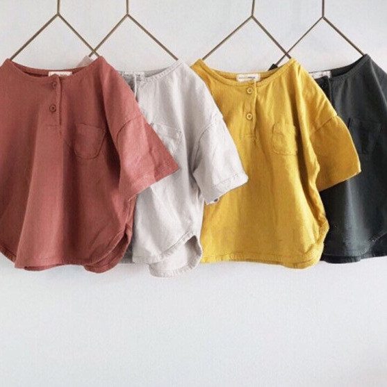 2020 Summer Korean Children's Clothing New Boys And Girls  Front Buckle Short Sleeve Casual Loose T-shirt