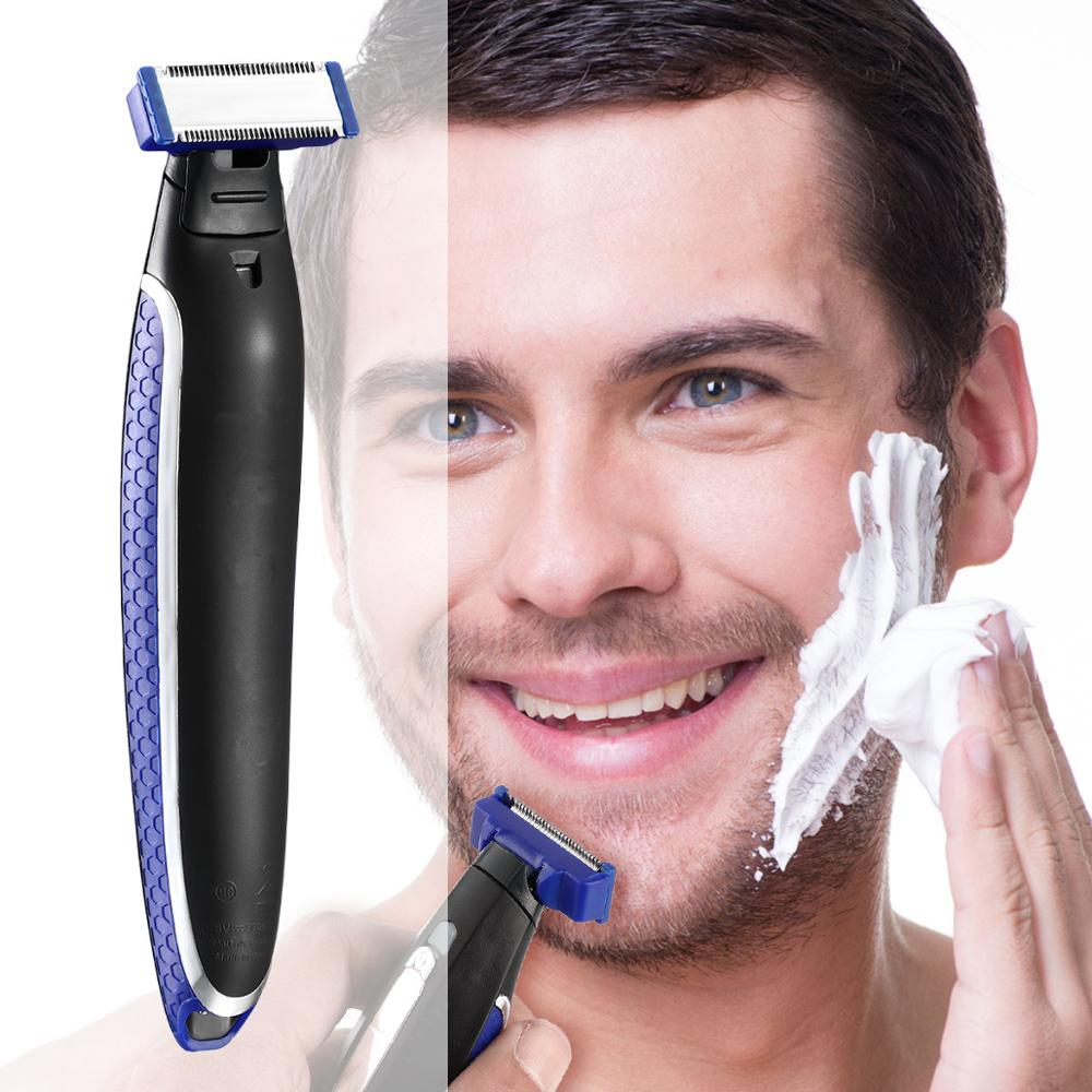 Stainless Steel Rechargeable Shaver Handheld Micro SOLO Electric Men Hair Cleaning Shaver LED Light Smart Razor Trimmer