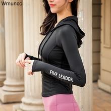 Yoga Top Sports-Jacket Long-Sleeve Workout Running Hooded Thumb-Hole Fitness Women Wmuncc