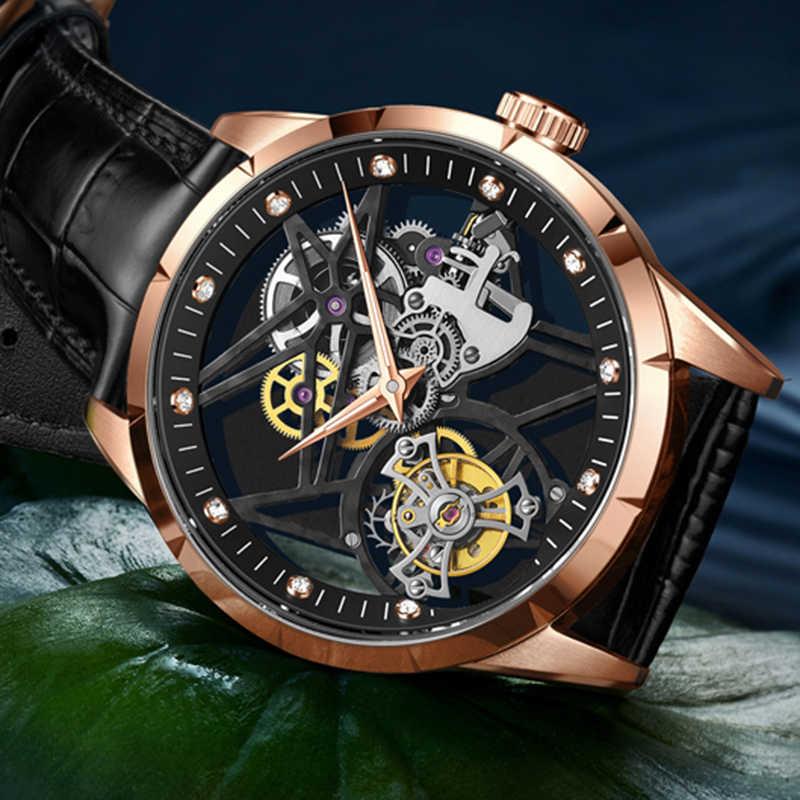Guanqin الهيكل العظمي توربيون الرجال الساعات الفاخرة الميكانيكية ساعة العلامة التجارية الأعلى 100% مقاوم للماء توربيون الرجال ساعة Relogio Masculino