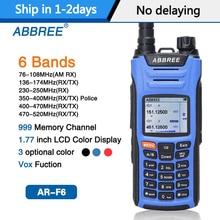 ABBREE AR F6 6 밴드 워키 토키 듀얼 디스플레이 듀얼 999CH 다기능 복스 DTMF SOS LCD 컬러 디스플레이 햄 라디오