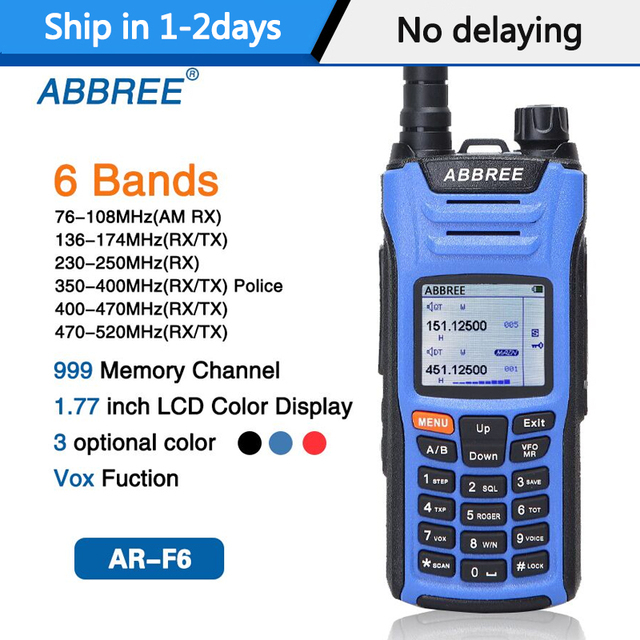 ABBREE AR F6 6 להקות מכשיר קשר תצוגה כפולה כפולה 999CH רב תפקודי VOX צלילי SOS LCD צבע תצוגת חזיר רדיו