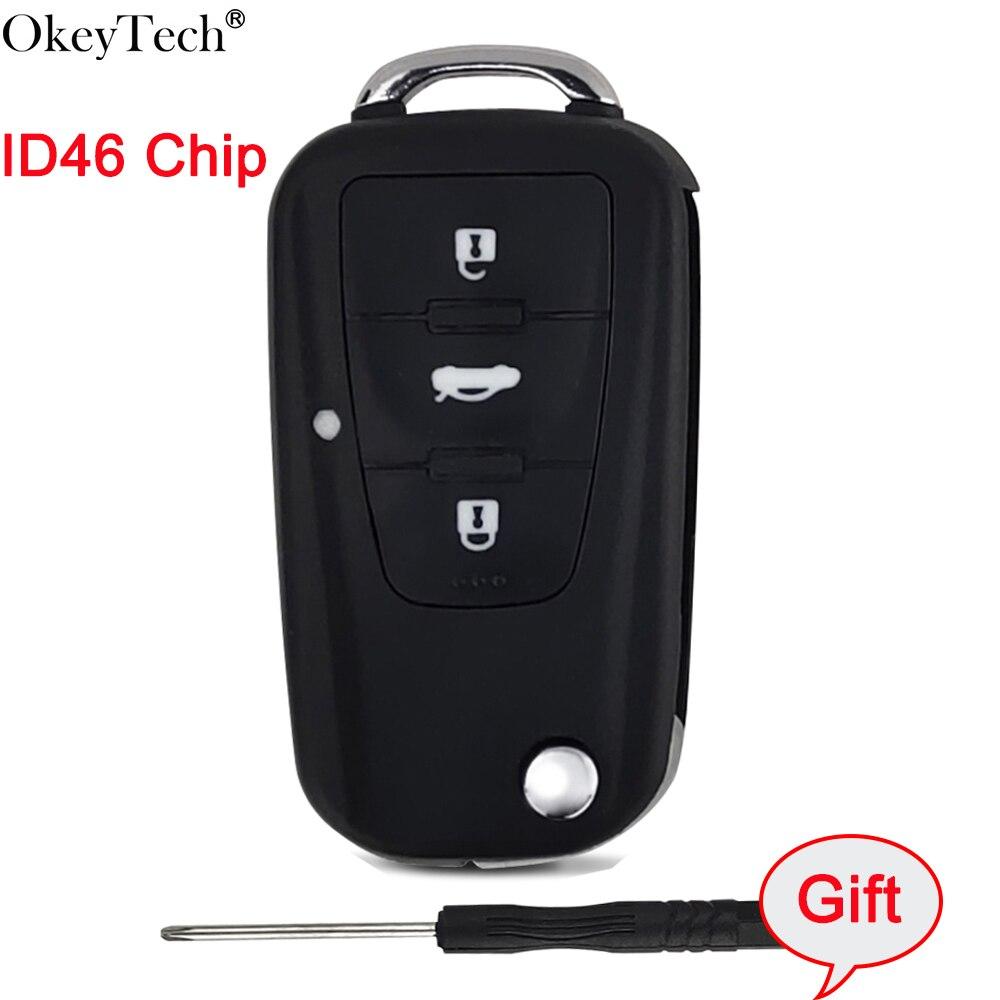 Okeytech OEM Flip pli clé à distance automatique avec puce ID46 pour Roewe MG5 MG7 MG GT GS 350 360 750 W5 3 boutons