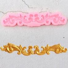 Барокко прокрутки рельефа границы силиконовые формы 3D листья помадка для кекса украшения торта инструменты Конфеты шоколадная мастика плесень