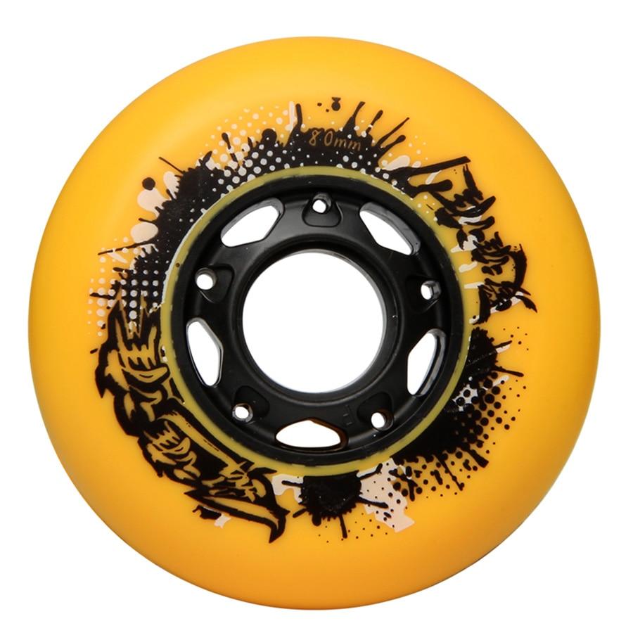 Papaya Inline Skate Wheels Resistant 92A Slalom Sliding FSK 72 76 80mm Yellow Roller Skating Tires For SEBA Powerslide Patines