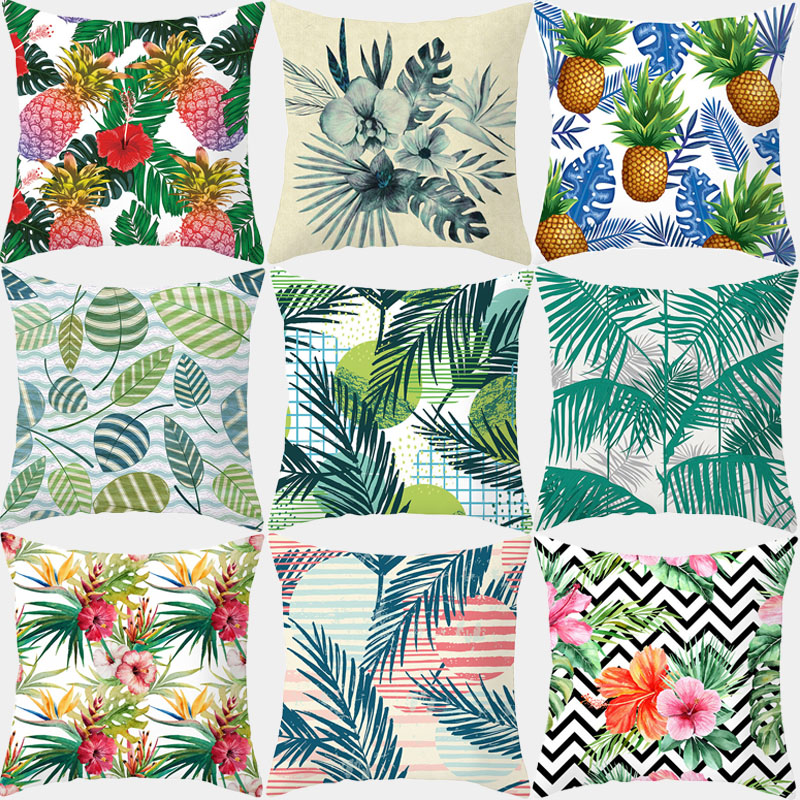 Pillowcase Plant Printed Cushion Cover 45*45 Sofa Decorative Cushions Throw Pillow Polyester Home Decor Pillow Covers 10307