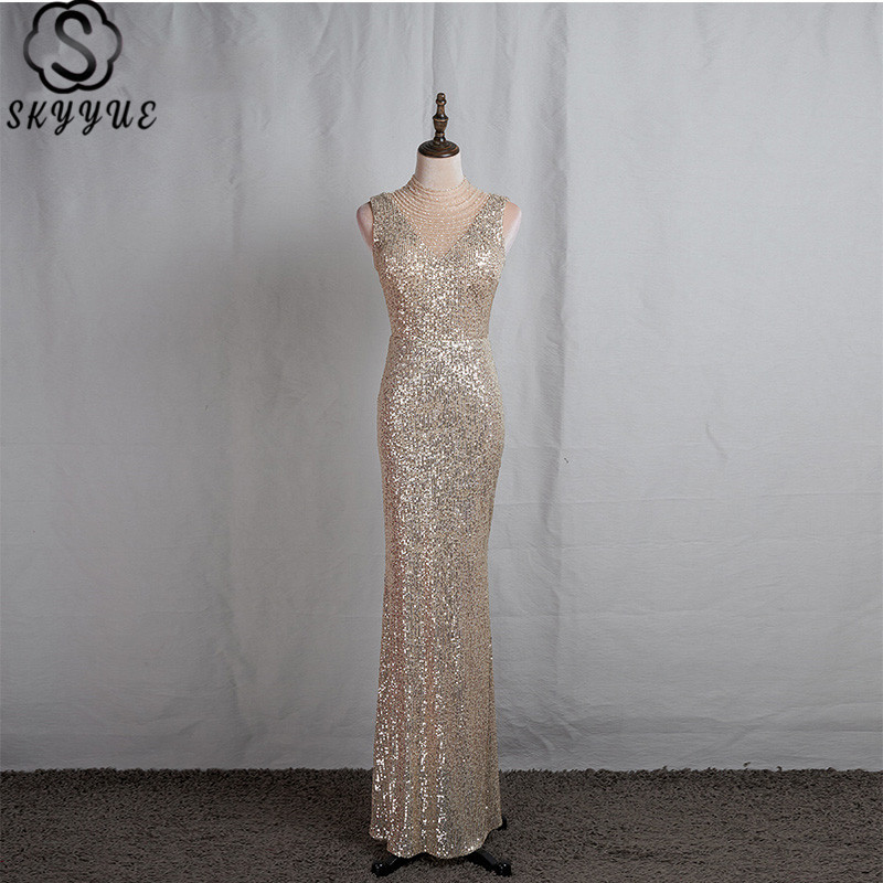 Skyyue Formal Dress Beading High Collar Sequined Robe De Soiree Sleeveless Floor-Length Illusion Cut-out Eveing Gowns K065