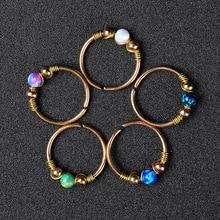 1PCS Boho Opal Fake Nose Piercing Septum Ring Cheater Bead Nose Hoop Non Piercing Nariz Earring Fashion Faux Pircing Nez Steel|Body Jewelry|   - AliExpress