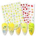3d-наклейка для ногтей в летнем дизайне, фруктовая тема, украшение Nair, цветные фрукты, лимон/арбуз/клубника, переводные наклейки