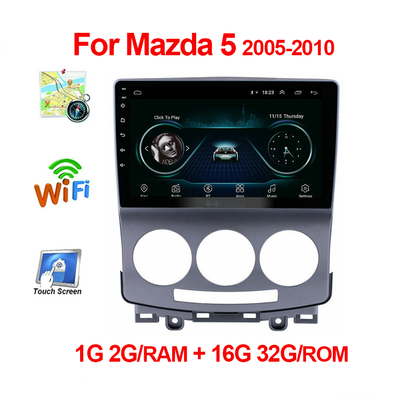 9 inch Android 9.1 Car Multimedia Video Player for Mazda 5 2005 2006 2007 <font><b>2008</b></font> 2009 2010 <font><b>2</b></font> <font><b>din</b></font> Car Audio Video Player GPS WiFi image