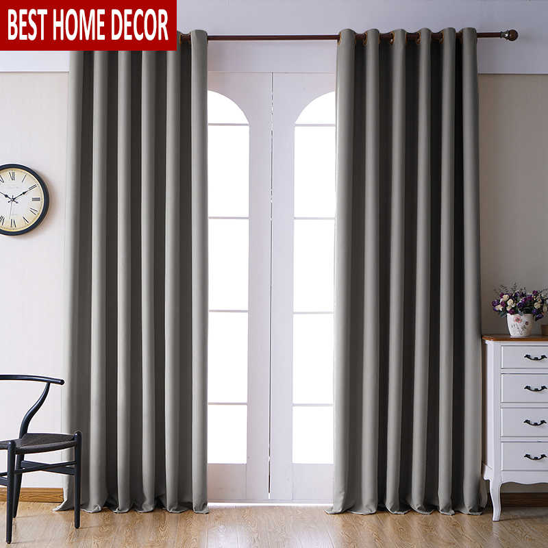 Elka Modern Blackout Curtains for Living room Bedroom Window Curtains for Kitchen Thick Curtain Drapes Finished Cloth Blind Door