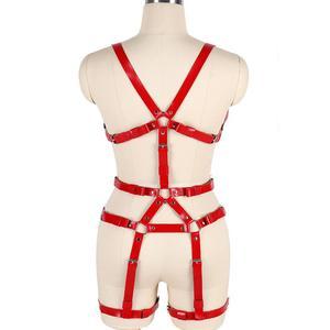 Image 2 - หนังสีแดงชุดสายรัด Bra เข็มขัด Gothic Punk เทศกาล RAVE ปรับชุดชั้นในเซ็กซี่ Body CAGE Garter เข็มขัดถุงน่องถุงน่อง