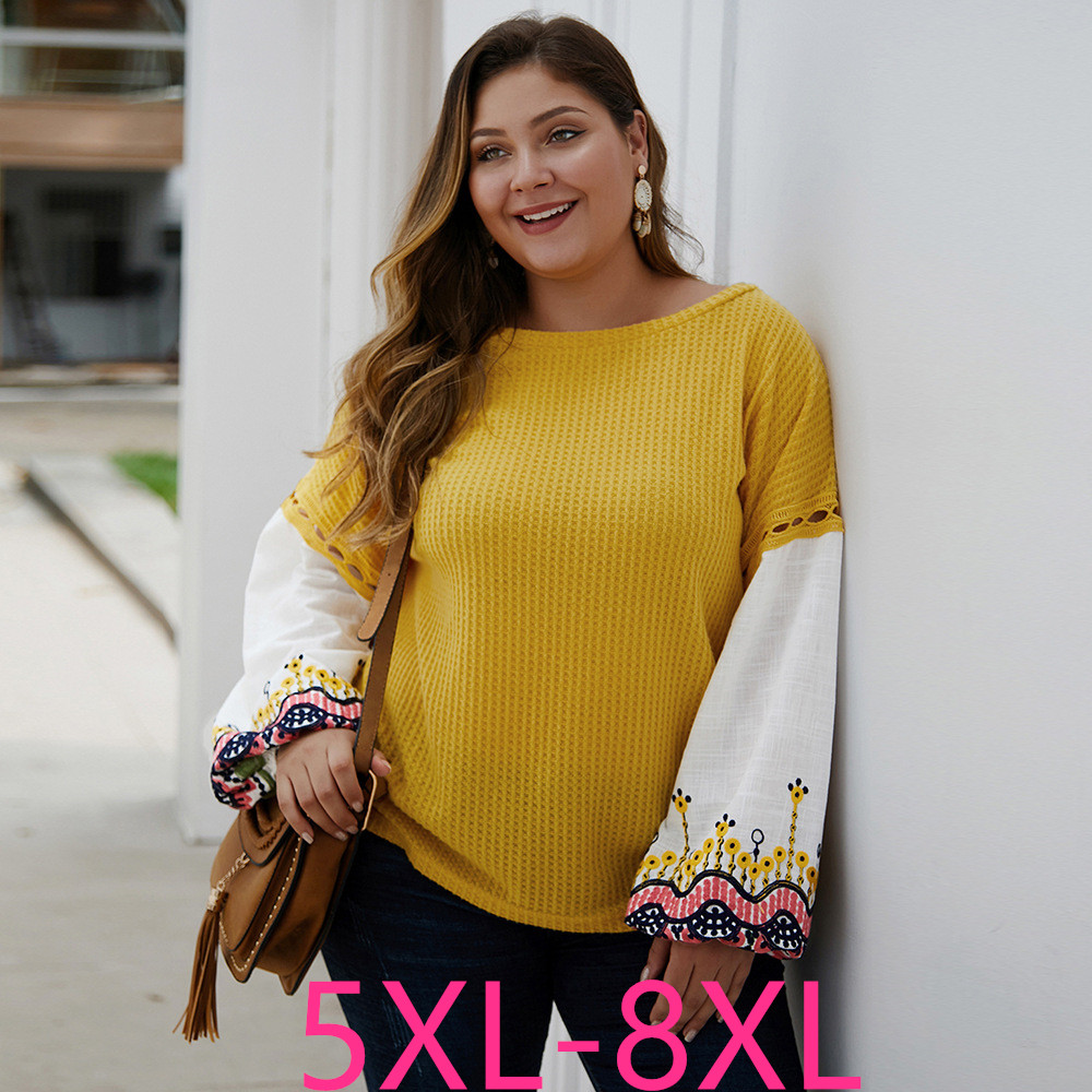 2019 Autumn Winter Plus Size Tops For Women Knitwear Long Sleeve Casual Loose Sweater Large Knit Pullover Yellow 5XL 6XL 7XL 8XL