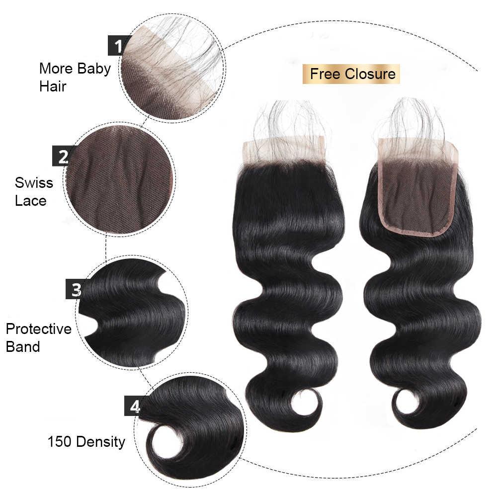 Satın Vücut Dalga Demetleri Ücretsiz Kapatma Malezya Saç Demetleri Vücut Dalga işlenmemiş insan saçı Demetleri 1/3/4 Funmi saç ekleme