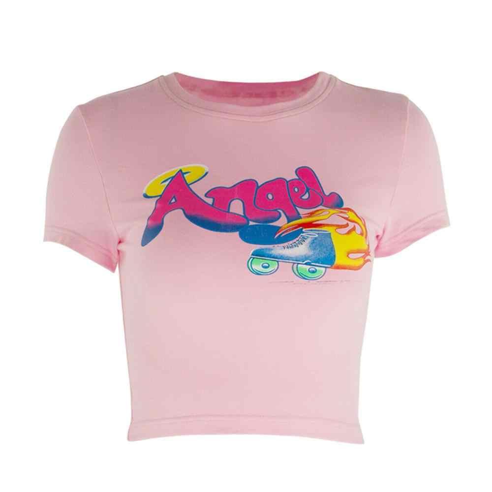 2020 Zomer Vrouwen Angel Brief Afdrukken Crop Top Tees Fashion Slim Korte Mouw T-shirts Vrouwen Casual Korte Tops Vestidos