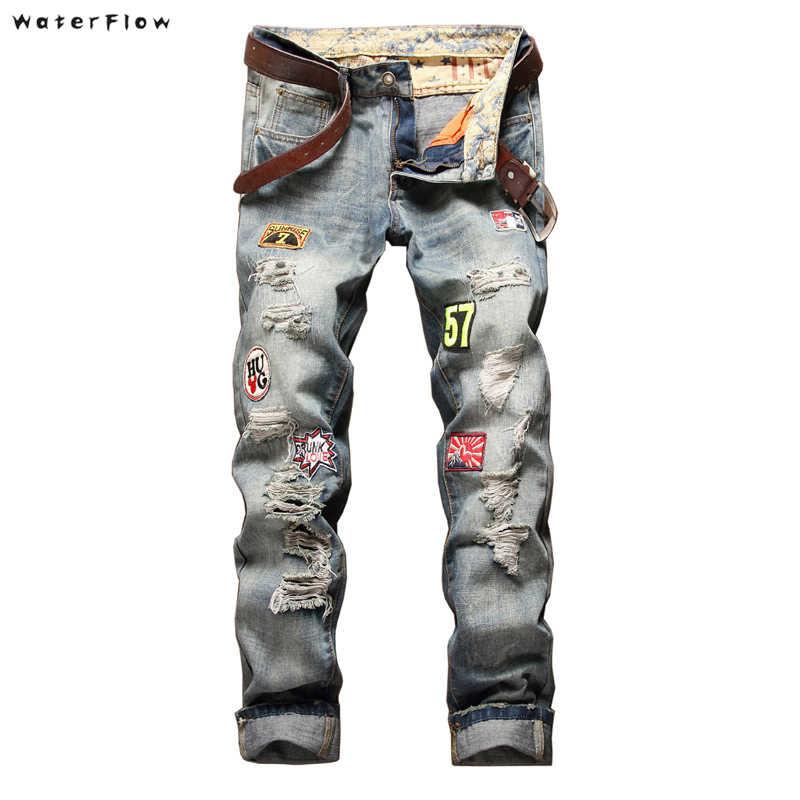 2019 nuevos pantalones vaqueros clásicos para hombre, pantalones vaqueros rasgados para hombre, pantalones vaqueros azules lavados con bordados para hombre