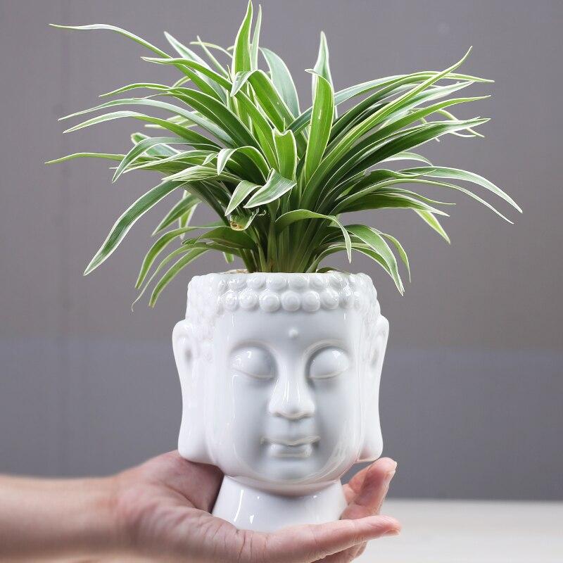 Zen Succulent Green Flower Pot Zen Ceramic Green Plant Pot Home Desk Decoration Buddha Statue Flower Basin