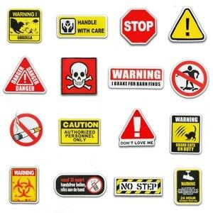 Image 5 - 50 Pcs Warning Signs Stickers for Laptop Motorcycle Luggage Bike Guitar Home Decor DIY Danger Banning Reminder Funny Sticker