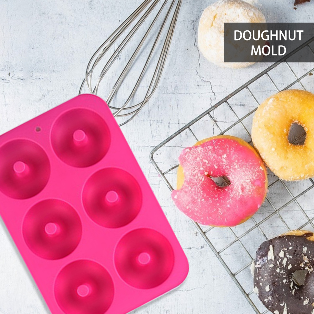 6-Cavity DIY Dessert Chocolate Moulds Silicone Donut Cake Maker Baking Pan Mold DIY Cake Mould Kitchen Tools