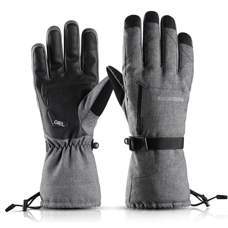 -30 °C Ski Gloves Men Women Winter Fleece Waterproof Warm Snowboard Snow Gloves Fingers Touch Screen Motorcycle Gloves Windproof