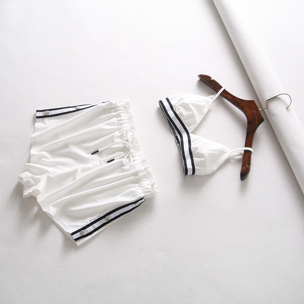 Ozhouzhan INS Super Fire Blogger Celebrity Style Women's Color Webbing Camisole Bra Shorts Fashion Set Fashion