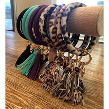 Leather Bracelet keychain key Ring Bangle keychain Tassel Ke